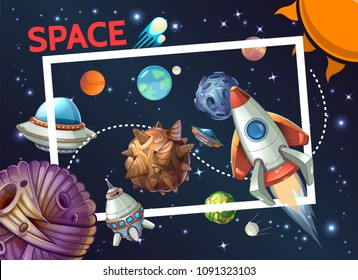 Cartoon cosmic template with rectangular frame rocket spaceship ufo planets asteroids meteors comets sun satellite on space background vector illustration