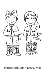 Cartoon costume. Bali, Indonesian traditional clothes.