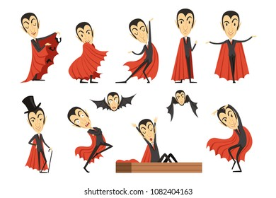 Cartoon Count Dracula wearing red cape set. Vampire characters vector illustrations