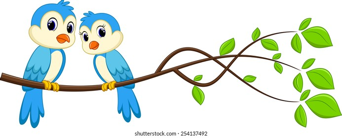 Cartoon couple bird on a branch