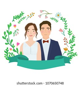 Cartoon couple. Bride and groom characters. Save the date. Engagement or wedding illustration.
