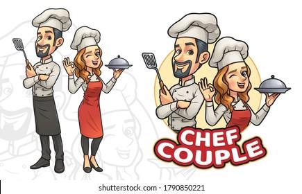 Cartoon Couple Chef, Vector EPS 10