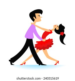 Cartoon couple dancing tango. Vector illustration