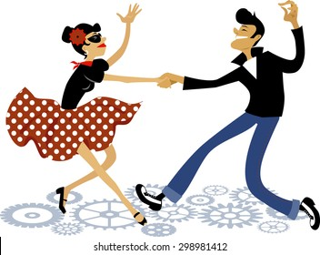 Cartoon couple dressed in rockabilly style fashion, dancing rock and roll, vector illustration, no transparencies, EPS 8