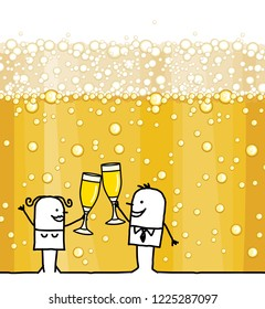 Cartoon Couple Drinking Champagne and Bubbles Background