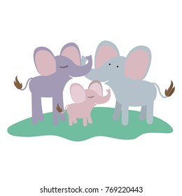 cartoon couple elephants and calf over grass in colorful silhouette on white background