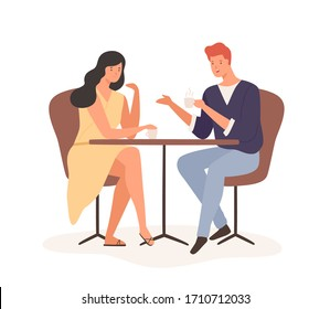 Cartoon couple enjoy romantic date drink coffee together vector flat illustration. Happy man and woman sitting at table and communicate in cafe isolated on white. Joyful male and female feeling love