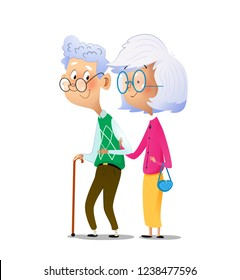 Cartoon couple grandparents are standing next to each other. Stock vector illustration