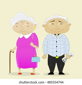 Cartoon couple grandparents are standing next to each other, Vector