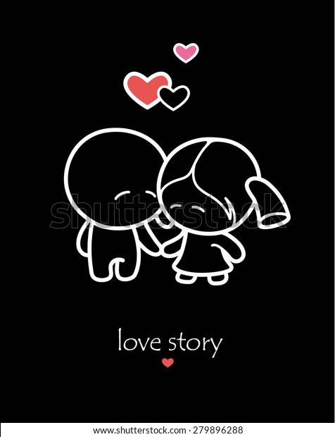 Cartoon Couple Lovers On Black Background Stock Vector Royalty Free 279896288