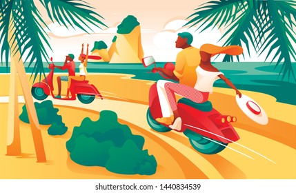 Cartoon Couple Ride Motorcycle on Beach Ocean Shore Vector Illustration. Man Woman on Motorbike. Tropical Nature, Palm Tree, Sea Coastline. Coast Road. Tropic Vacation, Trip, Summer Travel