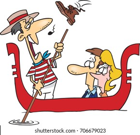 cartoon couple taking a ride in a gondola with a gondolier singing very badly who is about to get a boot in the head