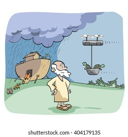 Cartoon of a couple of turtles arriving to Noah Ark on a drone.