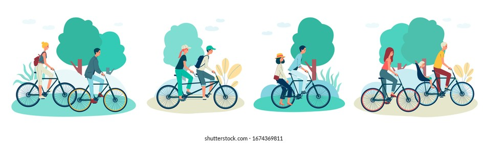 Cartoon couples riding bicycle on summer park, young man and woman on different types of bike - separate, tandem, shared and baby seat. Flat isolated vector illustration set.