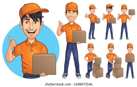 Cartoon Courier Young Man Mascot Character