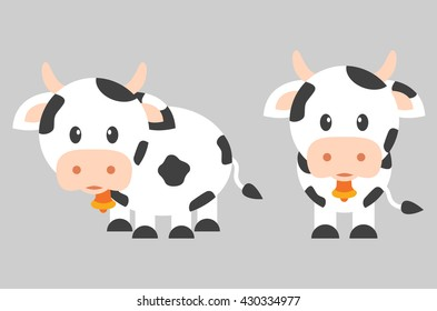 cartoon cow with bell set