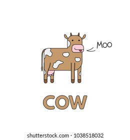 Cartoon cow flashcard. Vector illustration for children education