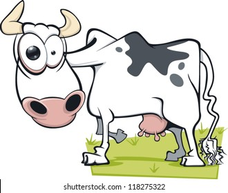 A cartoon cow with a mad expression