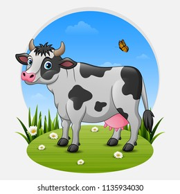 Cartoon cow on green meadow