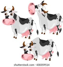 Cartoon cow. Vector illustration.