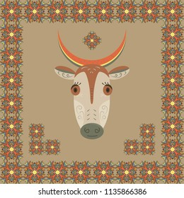 Cartoon cow with watermelon slice on horns. Ethnic ornament in Egyptian style around the cow.