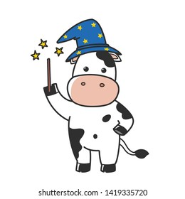 cartoon cow witch uses a magic wand