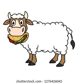 Cartoon Cow With Wool Eating Taco