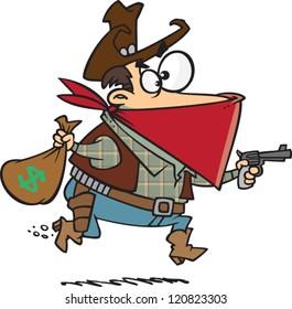 cartoon cowboy bandit robbing a bank with a gun and a money sack