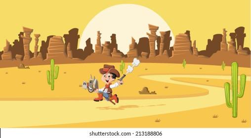 Cartoon cowboy kid galloping on Wild west