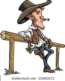 Cartoon cowboy leaning on a fence, smoking a cigarette