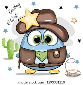 Cartoon Cowboy Owl Cute Beautiful Bird Star Mexico