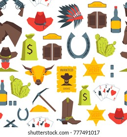 Cartoon Cowboy Seamless Pattern Background on a White American Culture Flat Style Design. Vector illustration