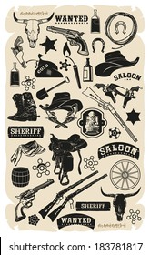 Cartoon cowboy set, vector