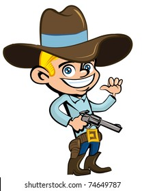 Cartoon cowboy with sixguns . Isolated on white