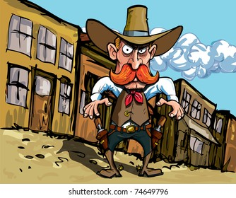 Cartoon cowboy with sixguns . Town street in the background