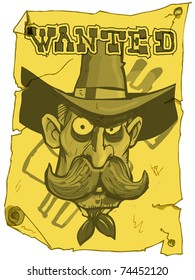 Cartoon cowboy wanted poster from the old west