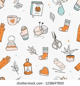 Cartoon cozy cute knitting seamless pattern  with different elements