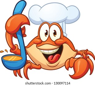 Cartoon crab chef. Vector clip art illustration with simple gradients. All in a single layer.