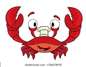 cartoon crab in a cook hat.isolated on white background.vector stock illustration