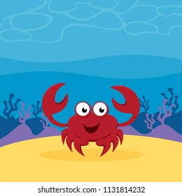 A cartoon crab on sand under the sea