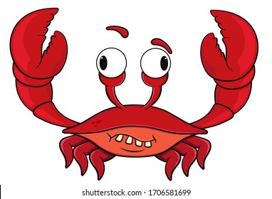 cartoon crab with wacky face.isolated on white background.vector stock illustration