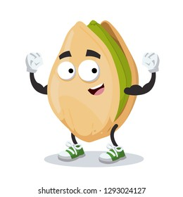 cartoon cracked pistachio nut mascot shows its strength on a white background isolated