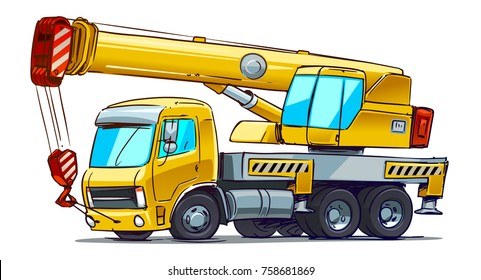 Cartoon crane truck. Vector illustration isolated on white background