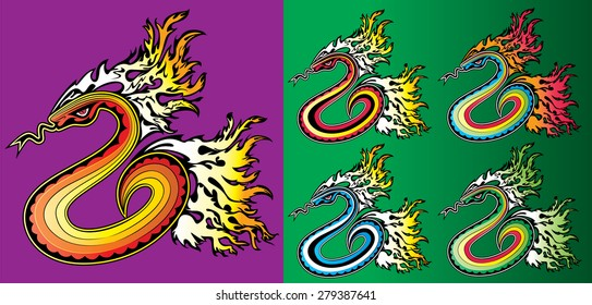 cartoon crawling snake with fire flames background vector illustration
