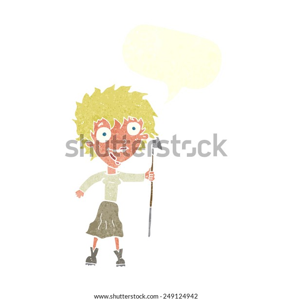 Cartoon Crazy Woman Spear Speech Bubble Stock Vector Royalty Free 249124942