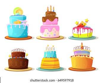 Cartoon Cream Cakes Set Isolate On White Background Vector Illustrations
