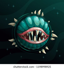 Cartoon creepy monster planet with spittle mouth and jaws on the dark space background. Fantasy space asset for game design. Vector cosmic illustration.