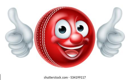 A cartoon cricket ball man mascot cartoon sports character giving a thumbs up