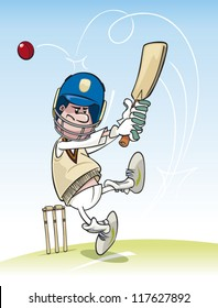 Cartoon cricket batsman