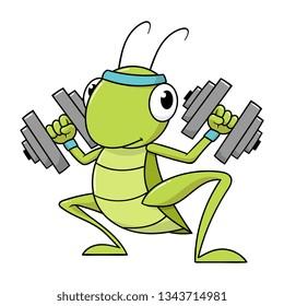 Cartoon Cricket Lifting Dumbbell